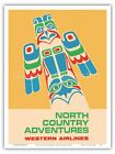 Pacific Northwest Totem Pole - Western Airlines 1960 Vintage Travel Poster Print