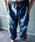 Nylon Satin Track Pants/Bottoms S - 4XL, Navy-Gold with Pockets