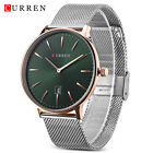 CURREN Mens Quartz Watch Date Display Stainless Steel Band Ultra-Thin Wristwatch