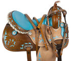 Western Barrel Saddle Pleasure Trail Show Leather Blue Rodeo Horse Tack Set