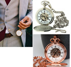 "Boxx Mens Roman Numerals Tone Skeleton Mechanical Pocket Watch 14"" CHAIN image"