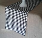 Black and White Plaid Gingham Check Table Runner Farmhouse Country Kitchen Decor