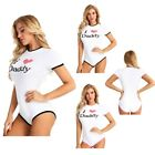 Women Daddy Print T-Shirt Top Diaper Romper Bodysuit Bodycon Jumpsuit Leotard