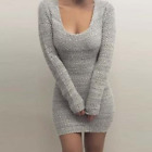 UK Womens Winter Bodycon Jumper Dress Ladies Sexy V Neck Dresses Long Sleeve Top