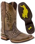 Mens Sand Work Western Cowboy Boots Square Toe Crocodile Belly Pattern Leather