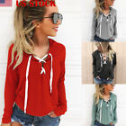 US New Fashion Women Lace Up Hooded Hoodie Ladies Pullover Jumper Pullover Tops