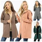 Women's Long Sleeve Two Way Zipper Hoodie Sweatshirt Coat Pocket Tunic Top Plus