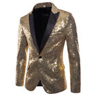 MenS Glitter Sequin Suit Jacket Blazer Fancy Show Costume Party Top Coat Wedding