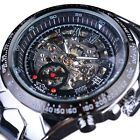 Automatic Mechanical Men's Wrist Watch Skeleton Steampunk Self Wind Full Steel image