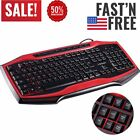 Wired Gaming Keyboard and Mouse Combo Colorful LED Backlit Fusion Black & Red BP