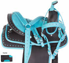 Cowboy Teal Western Pleasure Trail Youth  Child Horse Saddle Tack Set 12 13