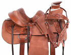 Roping Trail Rough Out Wade Tree Western Leather Horse Saddle Tack Set 15 18