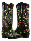 Womens Black Skull Western Leather Boots Halloween Embroidered Square Toe