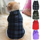 Small Pet Dog Fleece Vest Clothes Puppy Plaid Sweater Coat Shirt Jacket Apparel