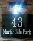 Deep engraved Granite plaque with the number of the house gate door + solar lamp