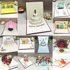 Happy Birthday Postcard Greeting Gift Cards Blank Paper 3D Handmade Pop Up Laser