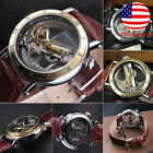 Men's Skeleton Bridge Leather Automatic Man Steampunk Wrist Mechanical Watch image