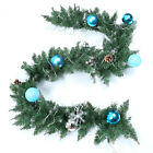 US! Christmas Artificial Green Garland Rattan Xmas Fireplace Decor w/ LED Lamp Y