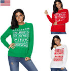 Womens Xmas YEAH BITCH Christmas Sweater Pullover Knitted Jumper Tops US 4-20