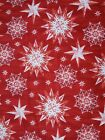 Cotton Fabric Festive Pattern Red Snowflakes Christmas Craft Cotton