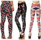 Womens Butterfly Flag Love Print Skinny Slim Fit Sports Trousers Leggings