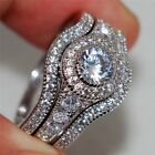 3pcs/set Women Lady Fashion Rings Set Silver White Sapphire Wedding Band Jewelry