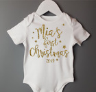 Personalised Luxury Baby Girls My 1st First Christmas Outfit Vest Red Glitter