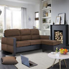 Panana Leather & Fabric Chaise Corner Sofa Modern Assemble As Left Or Right Uk