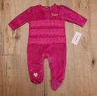 Juicy Couture Baby Girl Velour Footed Coverall ~ Fuchsia & Gold ~ Lace ~