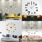 Modern DIY Large Number Wall Clock 3D Mirror Surface Sticker Watch Home Decor