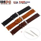 Discolor Calf Leather Wrist Watch Band Strap Steel Clasp Buckle 18-20-22mm US image