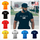 ALPHA New Men's Gym Cotton Crew Neck Gym Muscle Bodybuilding T-shirt USA image