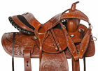 "Ranch Saddle 16"" 15"" Western Team Roping Roper Work Trail Leather Horse Tack Set"