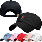 Rose Embroidery Dad Hat Baseball Cap Unconstructed Cotton