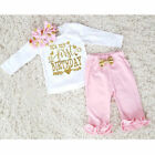 US Baby Girl First Birthday Outfits Clothes T shirt Tops Long Pants 3PCS Set