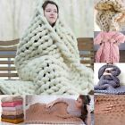 3 Size Large Warm Chunky Knit Blanket Thick Hand Yarn Wool Bulky Knitted Throw image