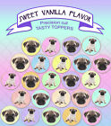 pastel rainbow pug dog puppy birthday Party cookie or cupcake Toppers Cup Cake