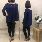 Style State Navy Top Bubble Long Sleeve Keyhole Detail  BNWT Sizes 6 8 10 12