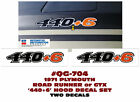 GE-QG-704 1970 PLYMOUTH - ROAD RUNNER and GTX - 440+6 HOOD DECAL SET - TWO DECAL  for sale