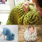 Soft Warm Hand Chunky Knitted Merino Wool Blanket Thick Bulky Throw 40cm*60cm US image