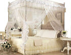 4 Corner Post Bed Canopy Full Queen King Size Mosquito Net Bedroom Mesh Curtain image