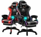 Pu Leather Office Computer Gaming Chair Red Blue Ergonomic W/footrest Recline