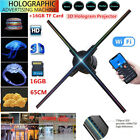 65CM W/16GB TF Portable 3D Hologram player Advertising Projector LED Dispaly Fan