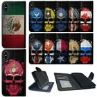 Wallet Case for [Apple iPhone XS Max] Card Slot ID Canvas Cover Skull Flags
