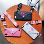 Luxury PINK Victorias Secret case with lanyard purse wallet for iPhone 6 7 8X 11