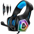 Stereo Gaming Headset Surround Sound Over-Ear Headphones With Mic LED Lights