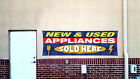 NEW & USED APPLIANCES SOLD HERE Banner Open Sign Display Fix Repair Service Shop