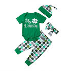 4Pcs Newborn Baby Boy Girl St. Patrick's Day Romper Pants Hat Outfit Clothes USA