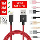 1M 2M 3M Heavy Duty Braided Lightning Charger Cable For iPhone 5 6 7 8 X iPad