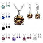 Wedding Bridal Party Jewelry 925 Sterling Silver Round CZ Sets 63B